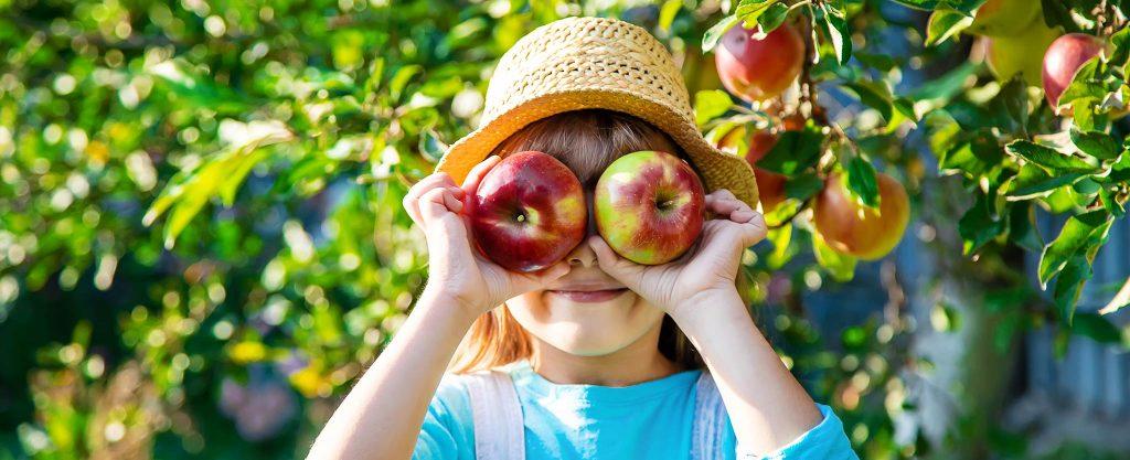Sommercamp Mädchen mit Äpfel
